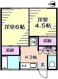 久保田荘 1階2Kの間取り