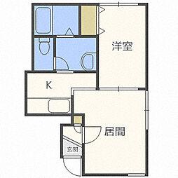 北海道札幌市中央区南六条西12丁目の賃貸アパートの間取り