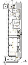 東京メトロ銀座線 稲荷町駅 徒歩8分の賃貸マンション 9階ワンルームの間取り