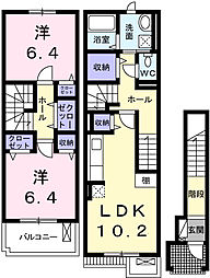 兵庫県姫路市東山の賃貸アパートの間取り