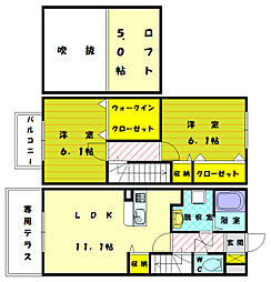 [テラスハウス] 福岡県古賀市中央1丁目 の賃貸【/】の間取り