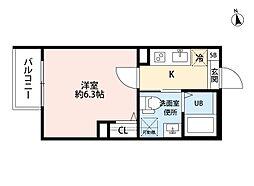 T.A矢田東 2階1Kの間取り