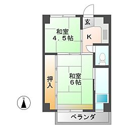 ビレッジハウス恵那 1号棟[2階]の間取り