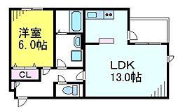JR中央線 三鷹駅 徒歩10分の賃貸マンション 2階1LDKの間取り