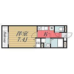 京成本線 公津の杜駅 徒歩8分の賃貸マンション 2階1Kの間取り