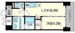 パークサイド本町 8階1LDKの間取り