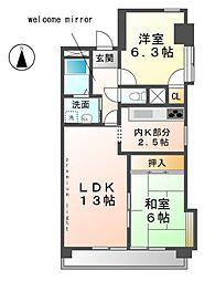 愛知県清須市鍋片3丁目の賃貸マンションの間取り