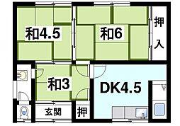 [テラスハウス] 奈良県奈良市大安寺5丁目 の賃貸【/】の間取り