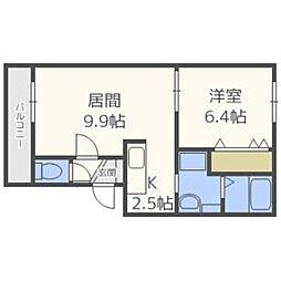 北海道札幌市豊平区豊平九条9丁目の賃貸マンションの間取り