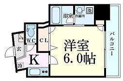 Luce Shinfukushima(ルーチェ新福島) 6階1Kの間取り