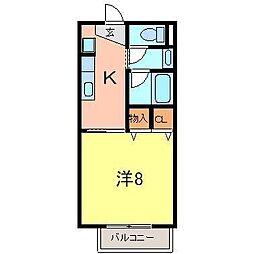 リバーサイド尼子田[102号室]の間取り