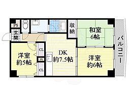 阪急京都本線 上新庄駅 徒歩8分の賃貸マンション 3階3DKの間取り