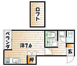 福岡県北九州市小倉北区井堀1丁目の賃貸アパートの間取り