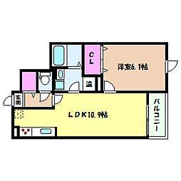 阪神本線 大石駅 徒歩9分の賃貸マンション 3階1LDKの間取り