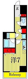 One ROOF Residence Kiba WEST 6階ワンルームの間取り