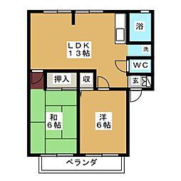 サンビレッジ亀山C[2階]の間取り