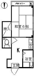 榎本ビル 3階1Kの間取り