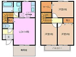 [テラスハウス] 三重県四日市市松寺2丁目 の賃貸【/】の間取り