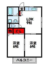福岡県宗像市日の里2丁目の賃貸アパートの間取り
