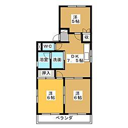 コーポE[3階]の間取り