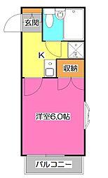 埼玉県所沢市くすのき台2丁目の賃貸アパートの間取り