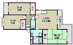 大阪府堺市北区新堀町1丁の賃貸マンションの間取り