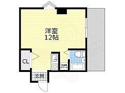 阪急千里線 千里山駅 徒歩14分の賃貸マンション 3階ワンルームの間取り
