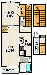 兵庫県宝塚市口谷東1丁目の賃貸アパートの間取り