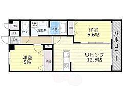 JR阪和線 我孫子町駅 徒歩2分の賃貸マンション 5階2LDKの間取り
