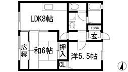 兵庫県宝塚市清荒神3丁目の賃貸アパートの間取り