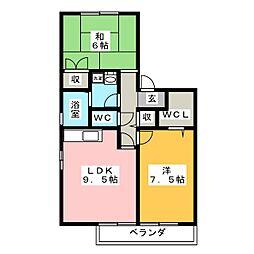 ラハイナA B[2階]の間取り