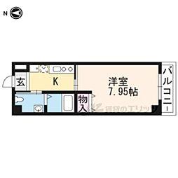 阪急京都本線 西院駅 徒歩10分の賃貸マンション 3階1Kの間取り