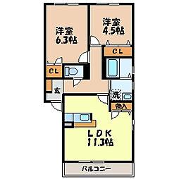 フォーレスヤマグチ A棟[2階]の間取り