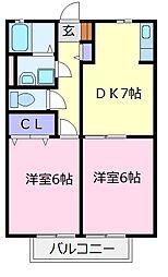 パラシオ北野田A棟 2階2DKの間取り