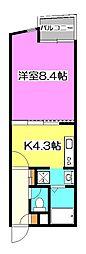 埼玉県所沢市東町の賃貸マンションの間取り