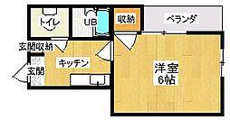 第5サンピア 3階1Kの間取り