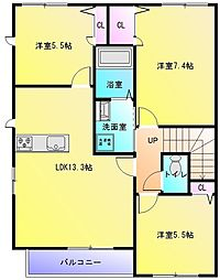 ヌーベル上之島B棟[2階]の間取り