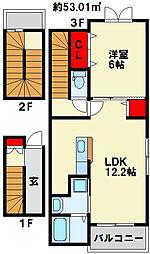 ポルタコスタ A棟 3階1LDKの間取り
