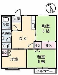 カーサ桂[A202号室]の間取り