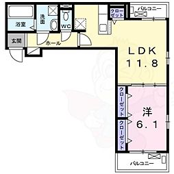 ラ・フルレックス 3階1LDKの間取り