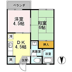 東京都武蔵村山市学園1丁目の賃貸アパートの間取り