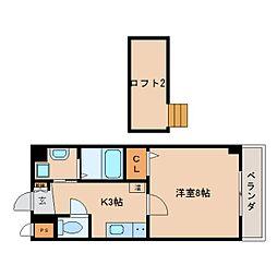 JR関西本線 王寺駅 徒歩3分の賃貸マンション 7階1Kの間取り