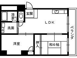 エクセル熊野町[602号室]の間取り