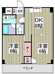 埼玉県東松山市御茶山町の賃貸マンションの間取り