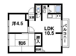 フローラ東坂[2階]の間取り