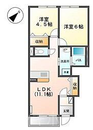 広島県安芸郡熊野町初神3丁目の賃貸アパートの間取り