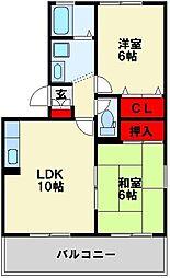 福岡県北九州市八幡西区下上津役3丁目の賃貸アパートの間取り