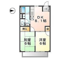 愛知県清須市助七1丁目の賃貸アパートの間取り
