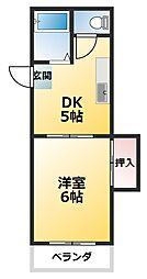 ニュー豊里 3階1DKの間取り