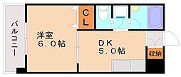 エクセレント野間[6階]の間取り